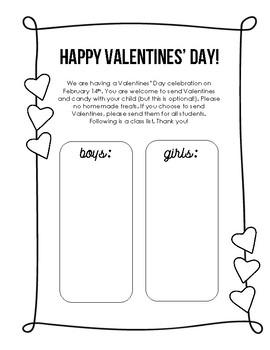 Valentine's Party Class List