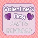 FREE Valentine's Day Party Reminder