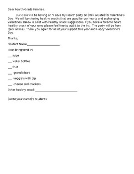 Valentine's Party Sign Up Sheet