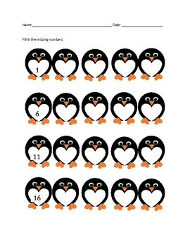 Valentine's Penguins Fill in the Missing Number