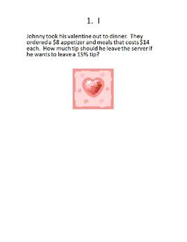 Valentine's Percent Word Problems Puzzle/Scavenger Hunt