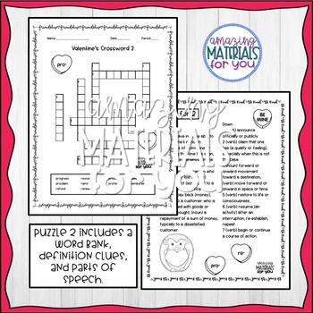 Valentine's Prefix Crossword Puzzles