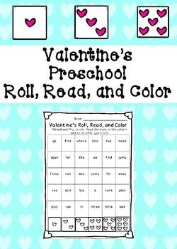 Valentine's Preschool Roll, Read, and Color