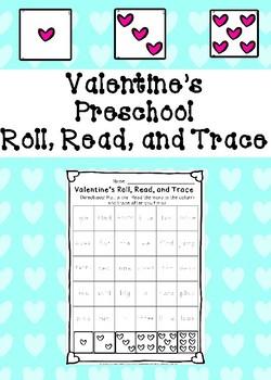 Valentine's Preschool Roll, Read, and Trace