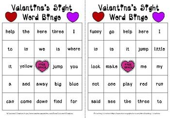 Valentine's Preschool Sight Words Bingo