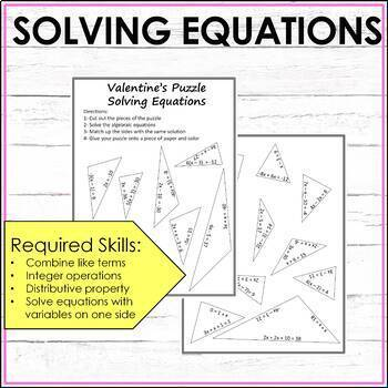 Algebraic Equations Valentine's Activity Middle School Math