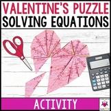 Algebraic Equations Valentine's Activity Middle School Math