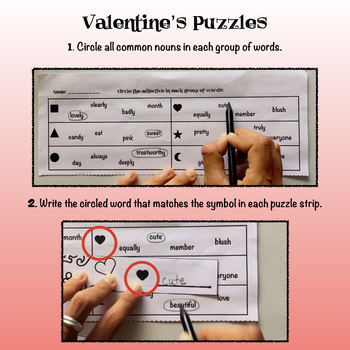 Valentine's Puzzles to Review Nouns, Adjectives, Verbs, Adverbs- ELA Centers