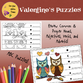 Valentine's Puzzles to Review Nouns, Adjectives, Verbs, Ad