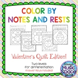 Valentine's Quilt Color by Note and Rests