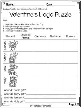 Valentine's Reading Skills Worksheets