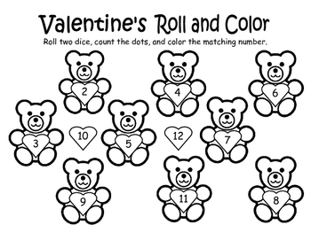 Valentine's Roll and Color Game