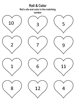 Valentine's Roll and Color Worksheet (Free for a limited time)