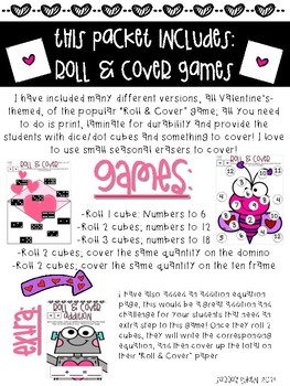 Valentine's Roll and Cover Dice Game