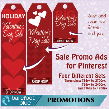 Valentine's Sales Ads for Pinterest (red) - just add your sale details