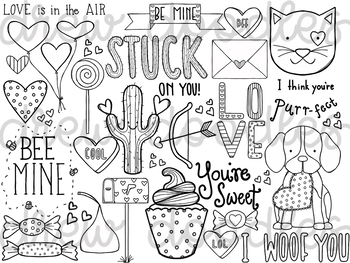 Valentine's Sayings Coloring Page- Girl and Boy Versions