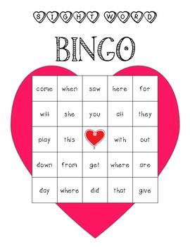 Valentine's Sight Word BINGO Boards
