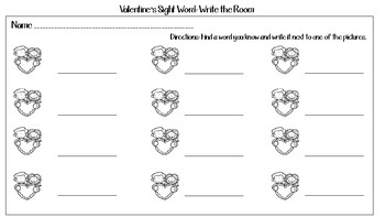 Valentine's Sight Word: Write the Room