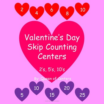 Valentine's Skip Counting (2's, 5's, & 10's) Math Center