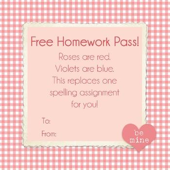 Valentine's Spelling Homework Pass