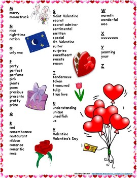 Valentine's Student Printable Word Bank