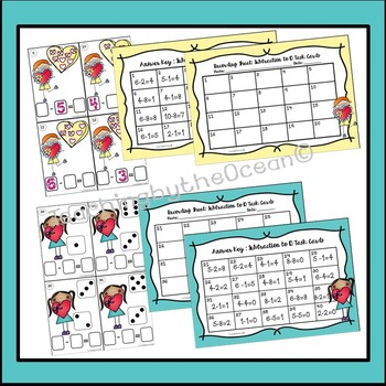 Valentine's Subtraction to 10 Task Cards and NO PREP Worksheets