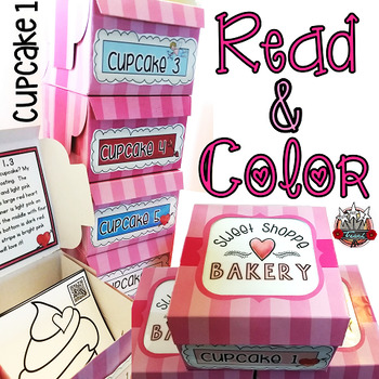 Valentine's Task Cards: Read and Color Cupcake 1