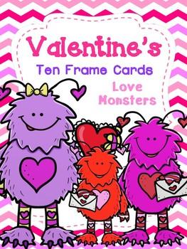 Valentine's Ten Frame Cards: Love Monsters