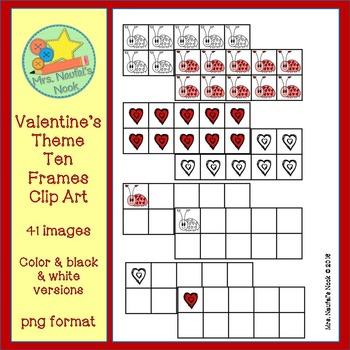 Ten Frames Clip Art - Valentine's Day