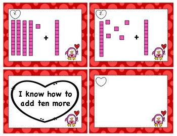 Valentine's Tens and Ones Task Cards TEN MORE