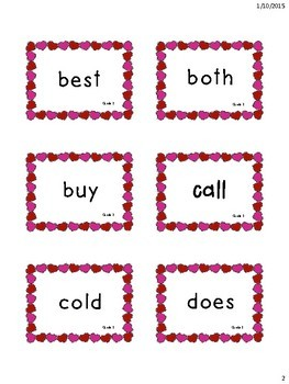 Valentine's Themed 2nd Grade Dolch Sight Words Flashcards