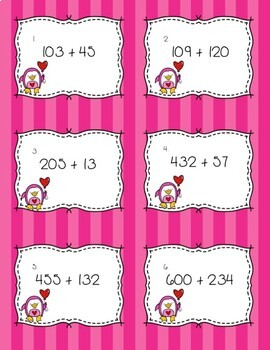 Valentine's Themed 3 Digit Addition and Subtraction Task Cards ~ 3 Levels!