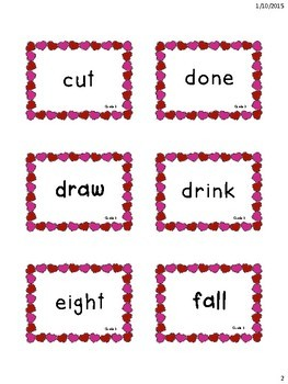 Valentine's Themed 3rd Grade Dolch Sight Words Flashcards