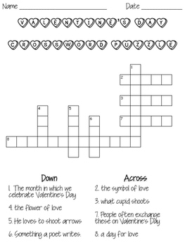 Valentine's Vocabulary Context Clues Task Cards & Cross Word