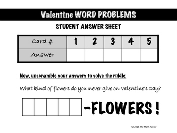 Valentine Word Problems - Math Mixer Activity - Lower Elementary
