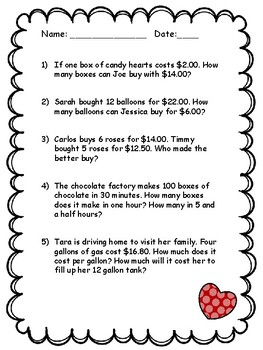 Valentine's Word Problems - Proportions, Rate & Unit Rate - Key Included