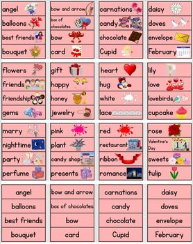 Valentine's Word Wall/Pocket Chart Cards With Pictures