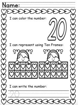 Valentine's Worksheets Numbers to 20