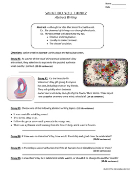Valentines Writing: 17 Printable Prompts (Grades 3-7)