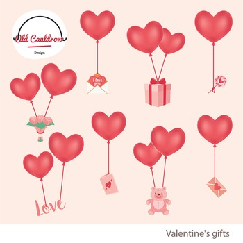 Valentine's balloons clipart, valentines day clipart, vector graphics CL021