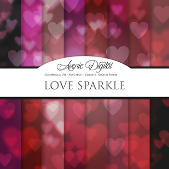 Valentine's day Bokeh Digital Paper sparkle hearts scrapbook background
