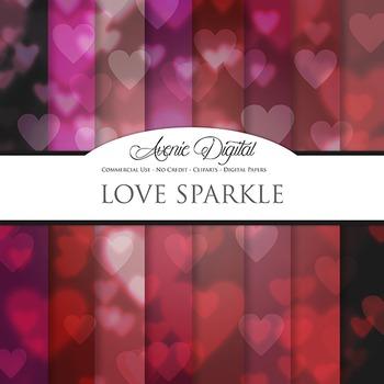 Valentine's day Bokeh Digital Paper sparkle hearts scrapbo