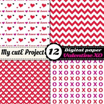 Valentine's day Digital Paper Pack - Hearts, Chevron, polka dots, love, XO -