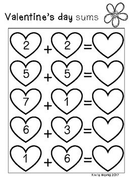 Valentine's Day Math freebie (sums, before and after, count,greater/less than)