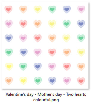 Valentine's day - Mother's day - Two hearts multicolor (6 PNG files)
