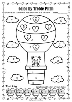Valentine's day Music Activity: Color by Treble pitch