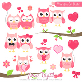 Valentine's day Owls, sweets Clipart Scrapbook printables vector clip art