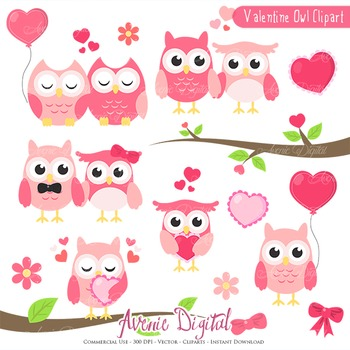 Valentine's day Owls, sweets Clipart Scrapbook printables