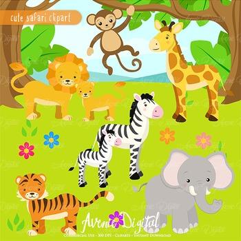 Cute Safari Clipart Scrapbook printables, baby wild animals clip art set