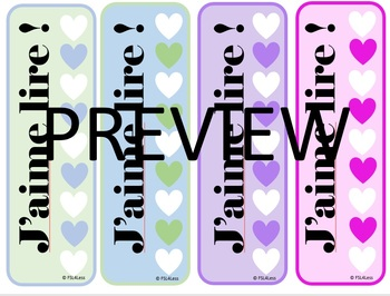 """Valentine's day bookmarks with """"J'aime lire"""" as a written option"""